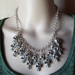 Jewelry - Punk Grunge SILVER Skulls Statement Goth Necklace